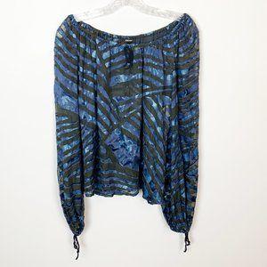 Escada | blue & black striped tie sleeve blouse